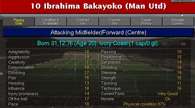 Valori Ibrahima Bakayoko in Championship Manager